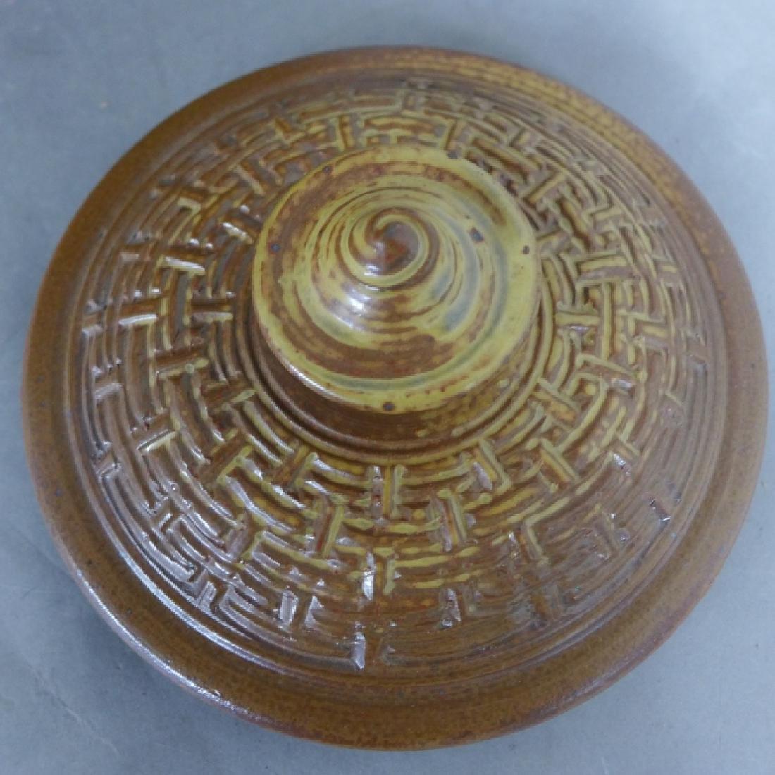 Basket Weave Impressed Ceramic Covered Jar - 3