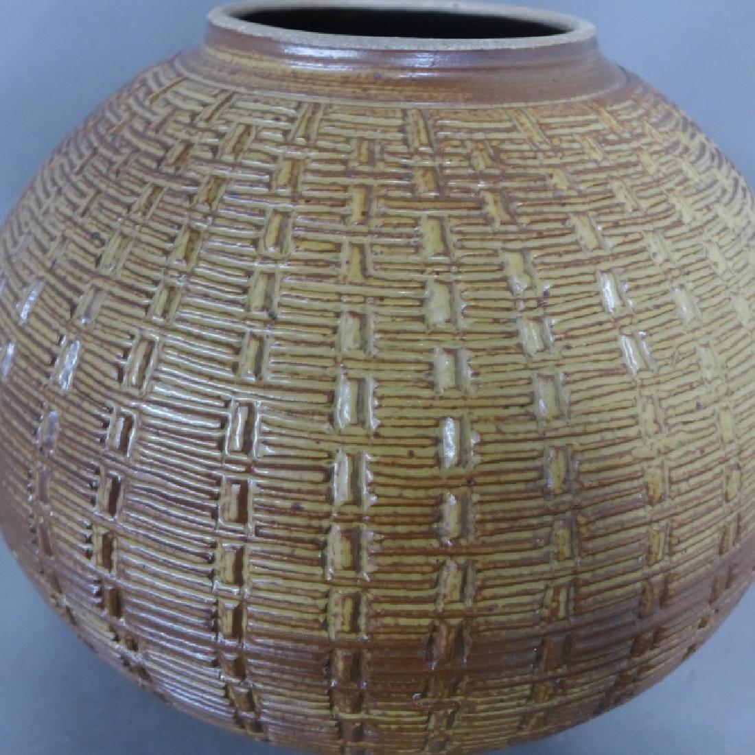 Basket Weave Impressed Ceramic Covered Jar - 4