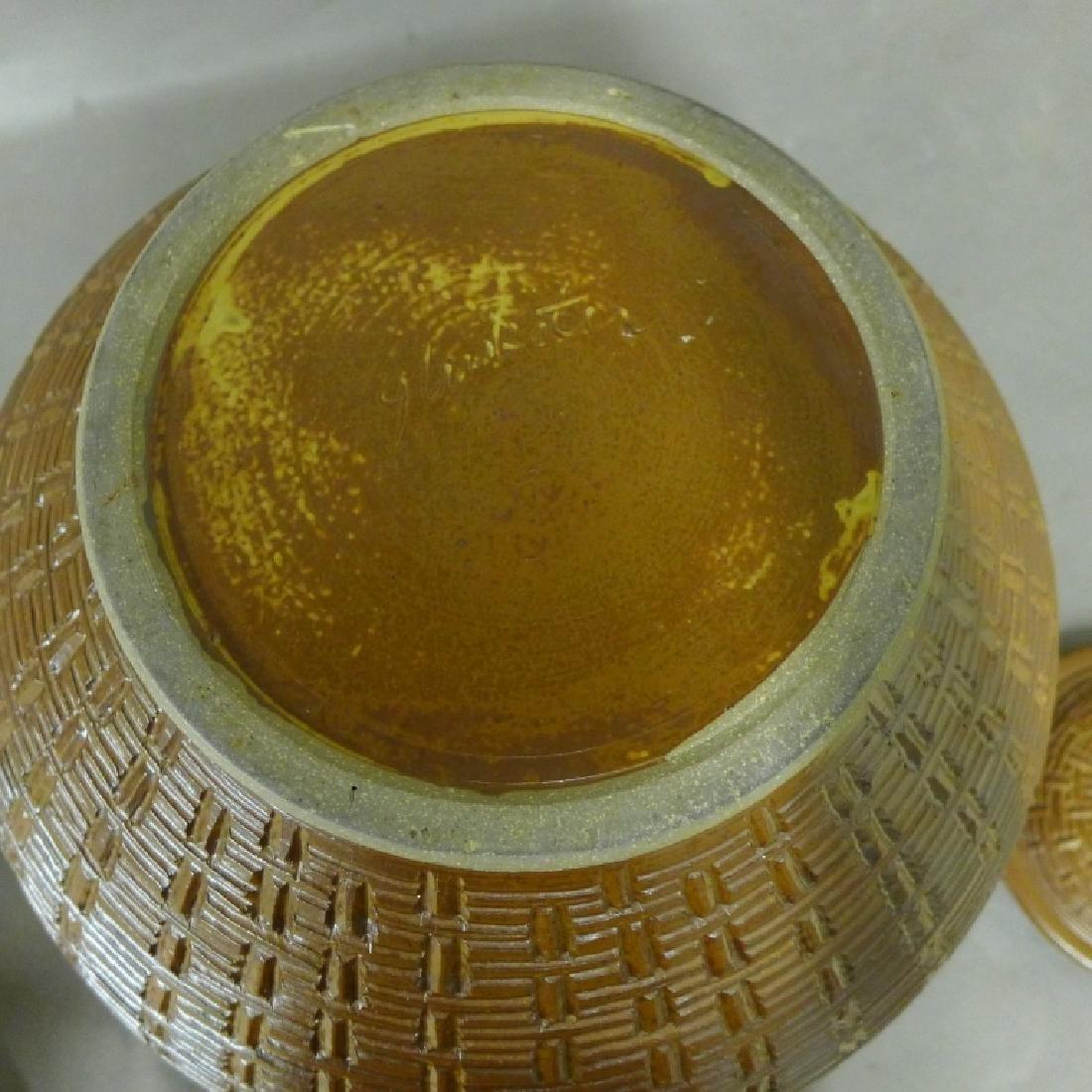Basket Weave Impressed Ceramic Covered Jar - 6
