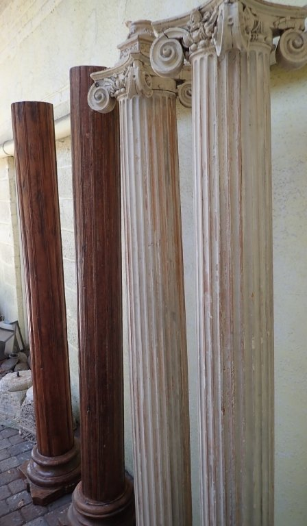 2 Pairs of Carved Wood Pillars - 10
