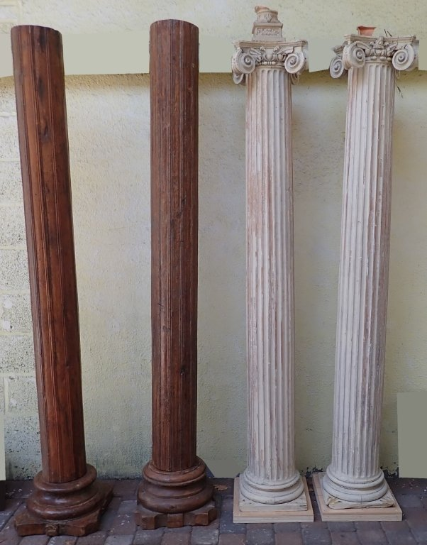 2 Pairs of Carved Wood Pillars