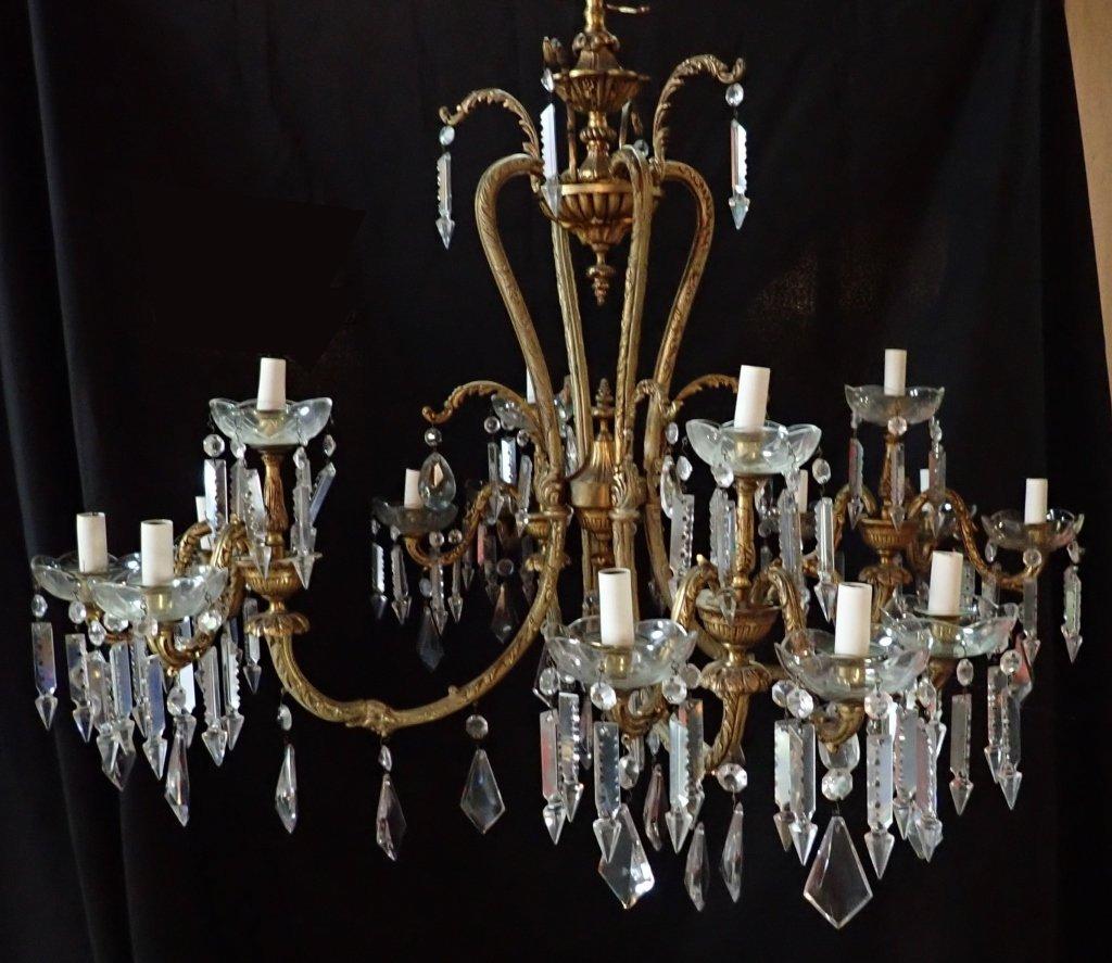 Continental Bronze & Crystal Chandelier - 10
