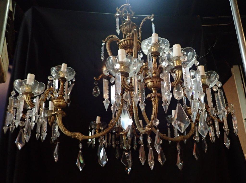 Continental Bronze & Crystal Chandelier - 2