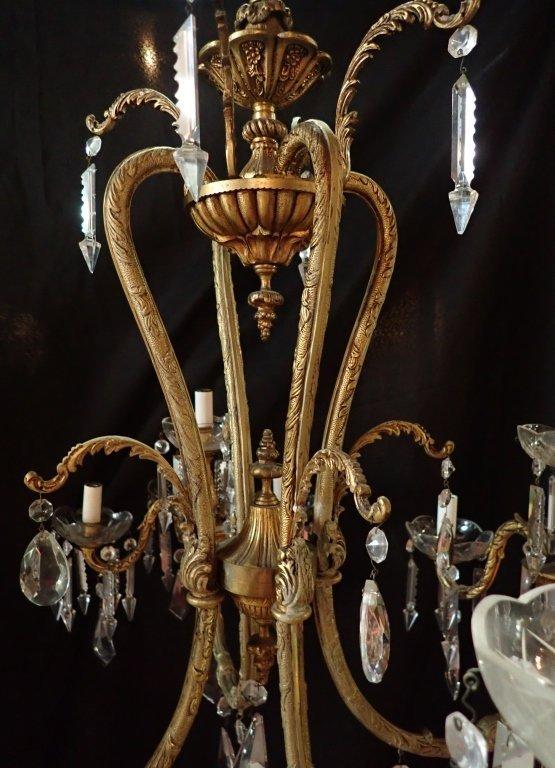 Continental Bronze & Crystal Chandelier - 3