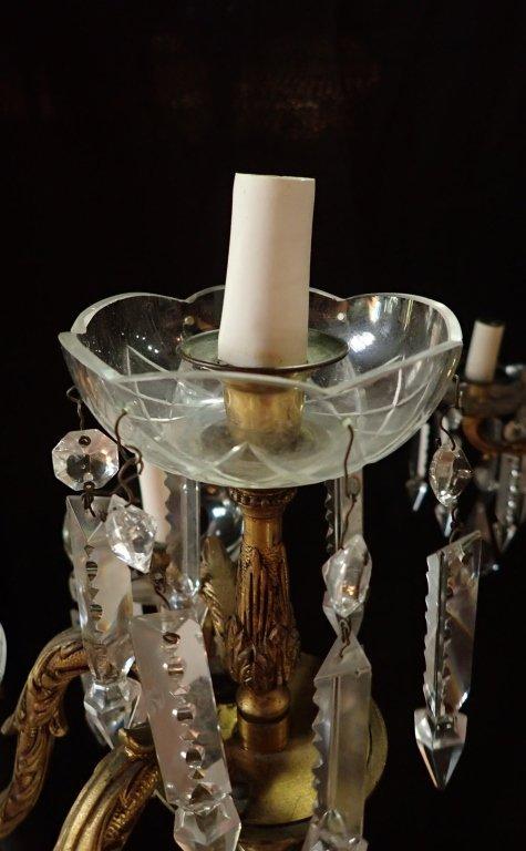 Continental Bronze & Crystal Chandelier - 4