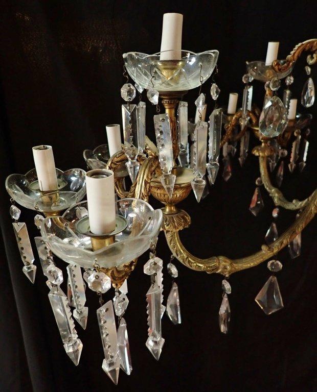 Continental Bronze & Crystal Chandelier - 5