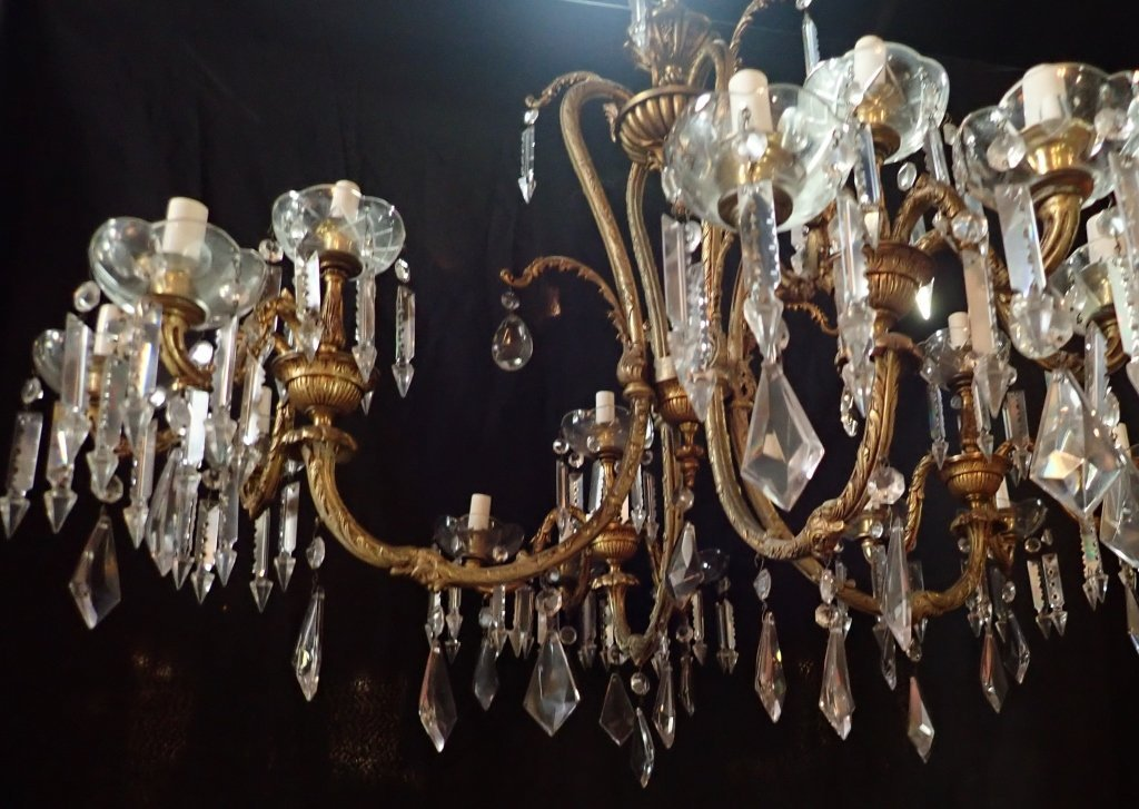 Continental Bronze & Crystal Chandelier - 8
