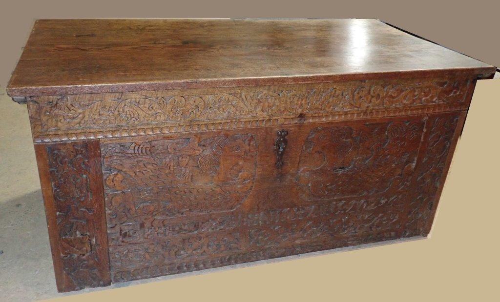 Impressive Carved Oak Desk