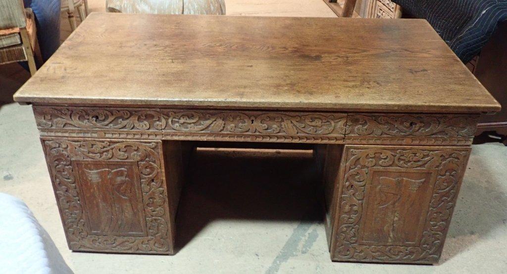 Impressive Carved Oak Desk - 2