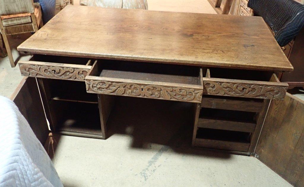 Impressive Carved Oak Desk - 3
