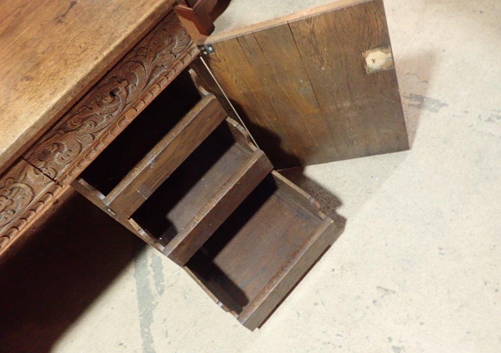 Impressive Carved Oak Desk - 4