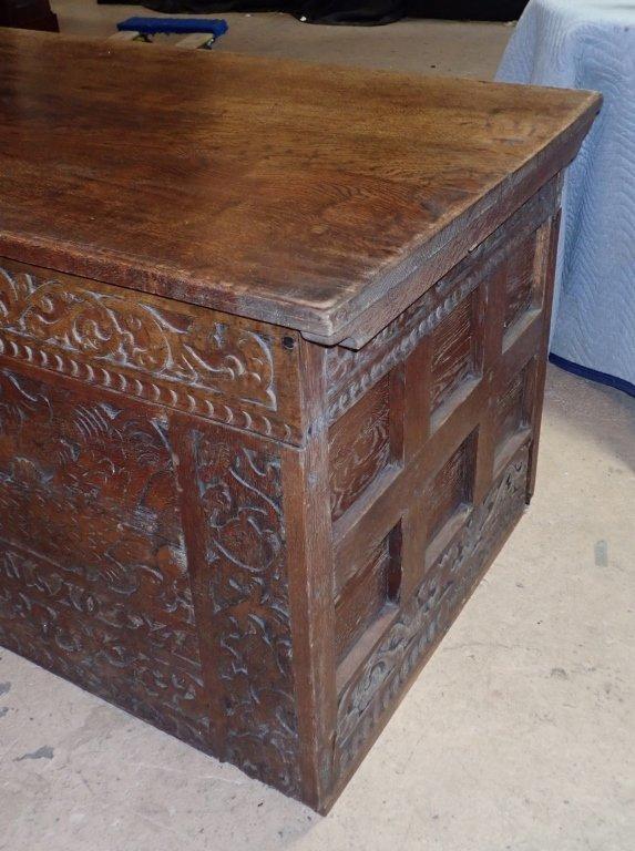 Impressive Carved Oak Desk - 5