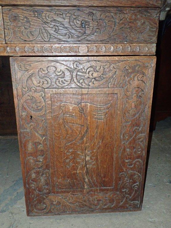 Impressive Carved Oak Desk - 6