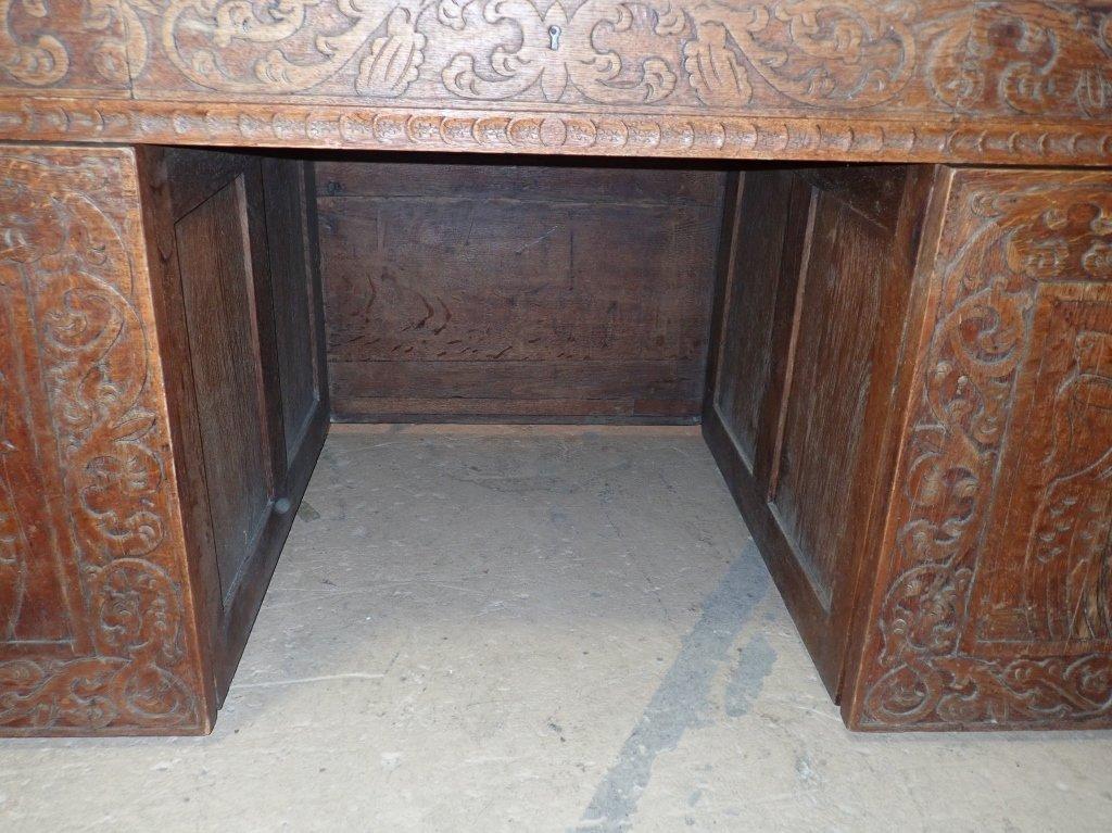 Impressive Carved Oak Desk - 7