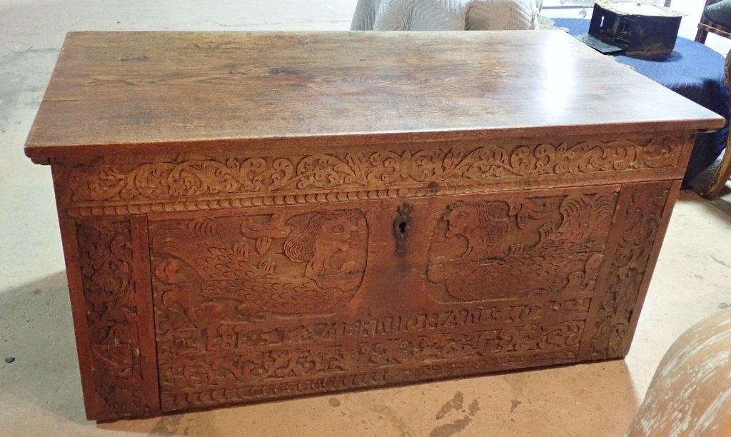 Impressive Carved Oak Desk - 9
