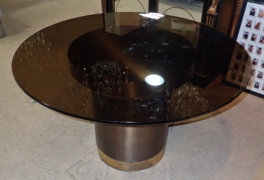 Brass & Copper Round Dining Table with Glass