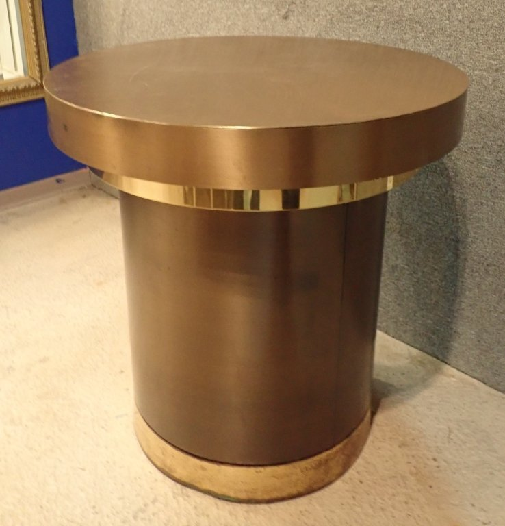 Brass & Copper Round Dining Table with Glass - 2