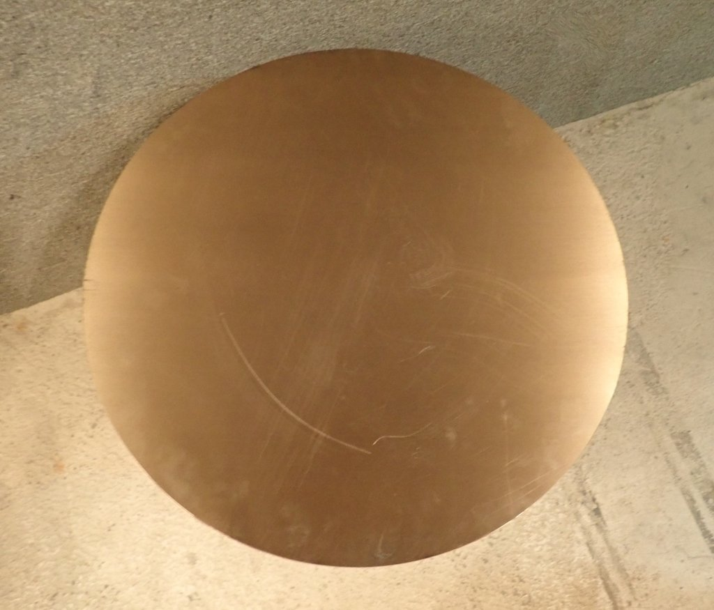 Brass & Copper Round Dining Table with Glass - 3