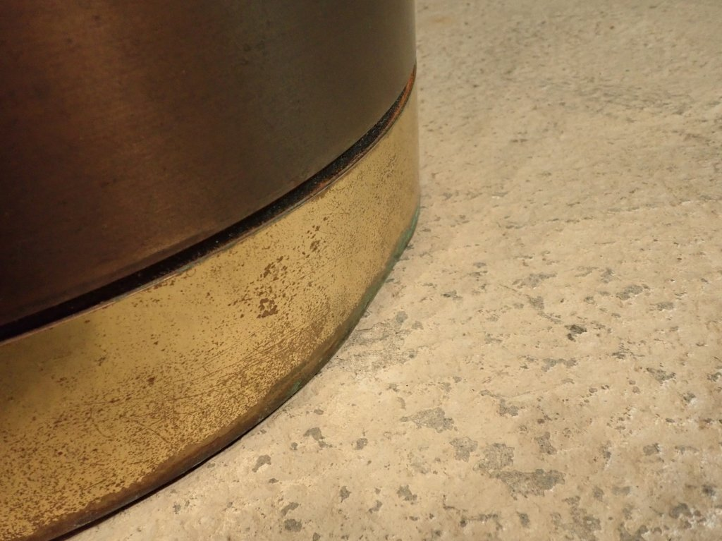 Brass & Copper Round Dining Table with Glass - 5