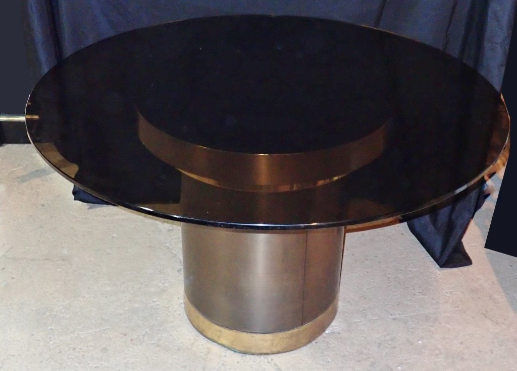 Brass & Copper Round Dining Table with Glass - 6