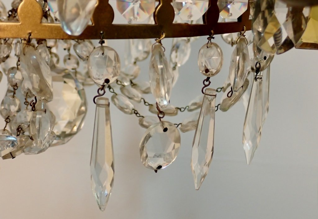 Colored Crystal and Bronze Continental Chandelier - 10