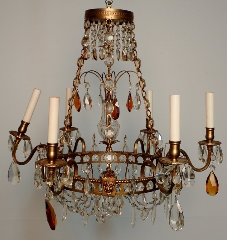 Colored Crystal and Bronze Continental Chandelier