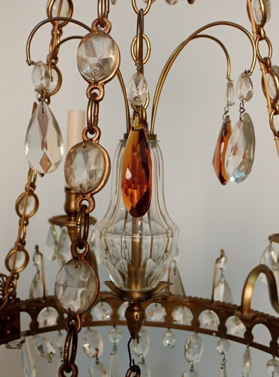 Colored Crystal and Bronze Continental Chandelier - 4