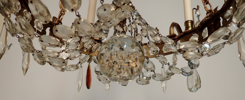 Colored Crystal and Bronze Continental Chandelier - 5