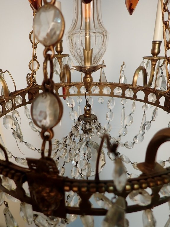 Colored Crystal and Bronze Continental Chandelier - 6