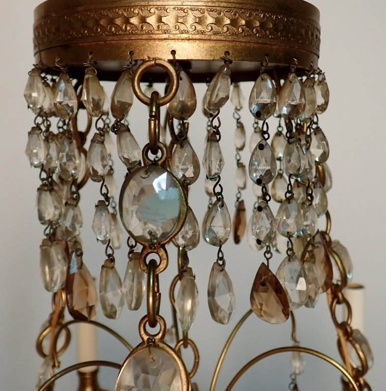 Colored Crystal and Bronze Continental Chandelier - 7