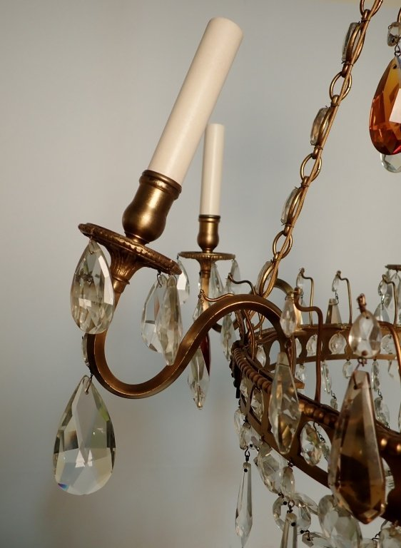 Colored Crystal and Bronze Continental Chandelier - 8