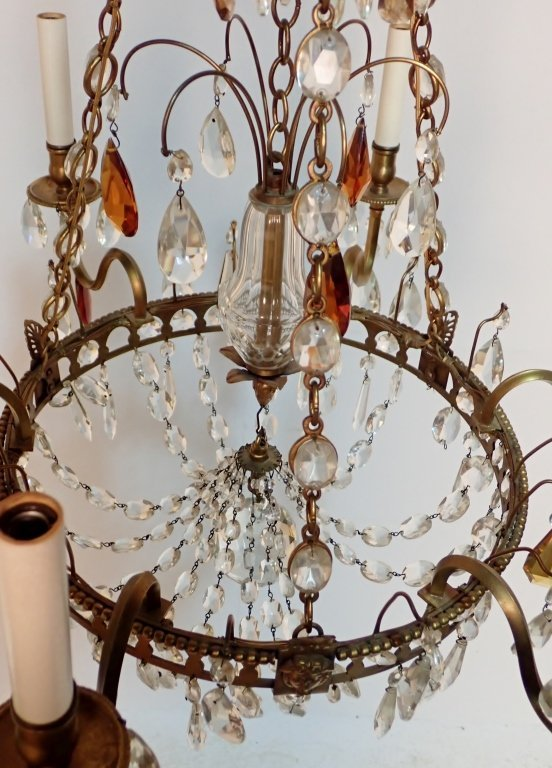 Colored Crystal and Bronze Continental Chandelier - 9