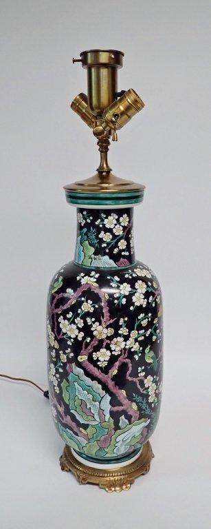 Chinese Porcelain Famille Noire Lamp