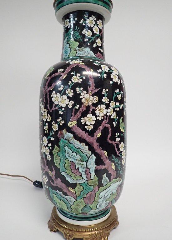 Chinese Porcelain Famille Noire Lamp - 3