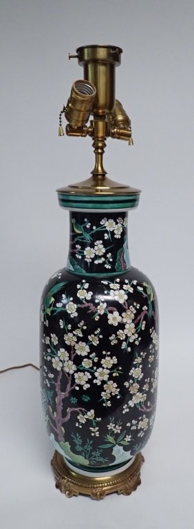 Chinese Porcelain Famille Noire Lamp - 5