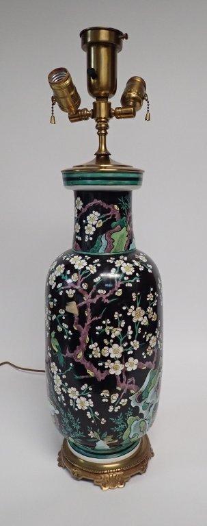 Chinese Porcelain Famille Noire Lamp - 7