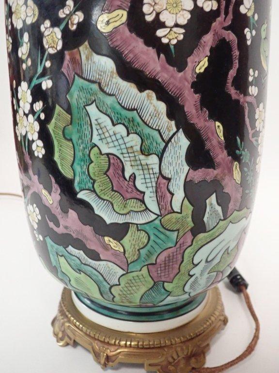 Chinese Porcelain Famille Noire Lamp - 8