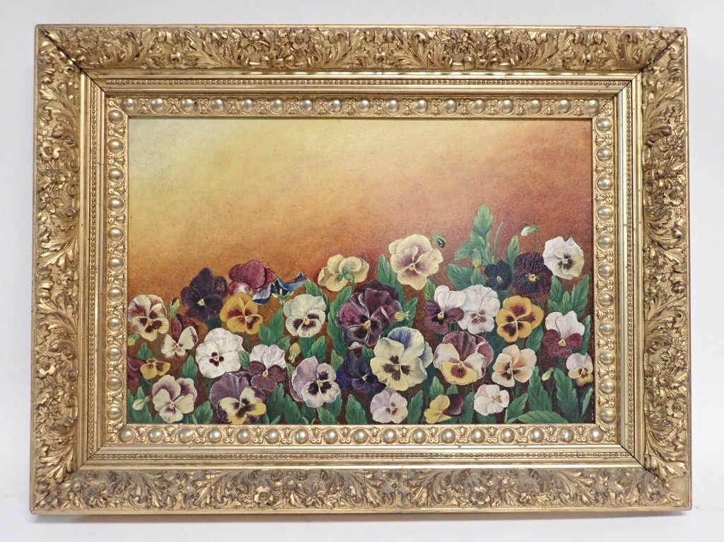 19th Century Oil on Board, Pansies