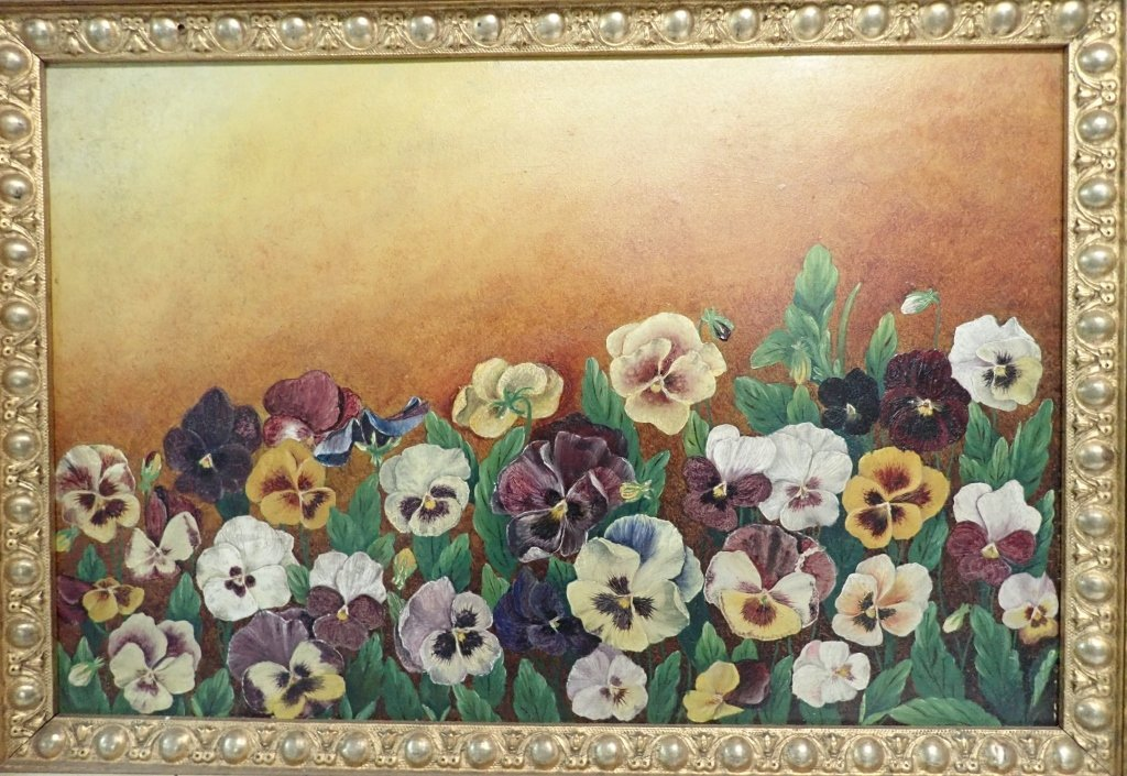 19th Century Oil on Board, Pansies - 2
