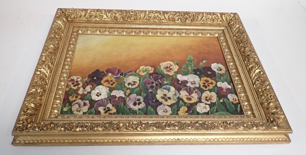19th Century Oil on Board, Pansies - 3