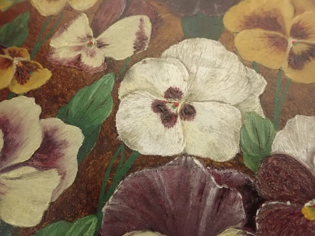 19th Century Oil on Board, Pansies - 5