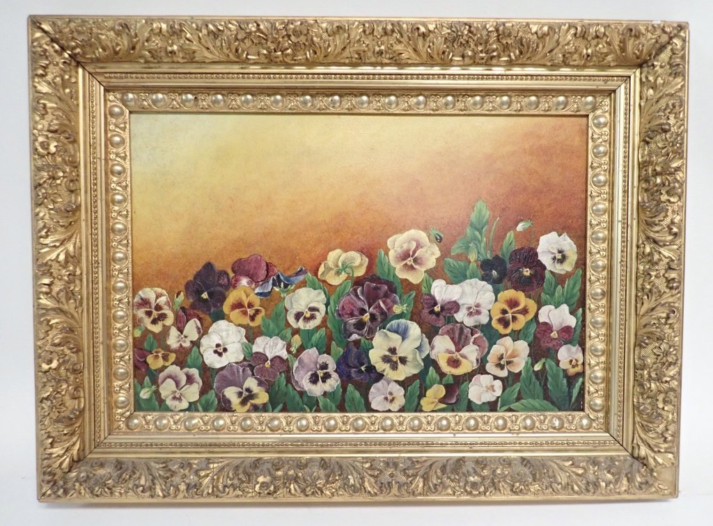 19th Century Oil on Board, Pansies - 9