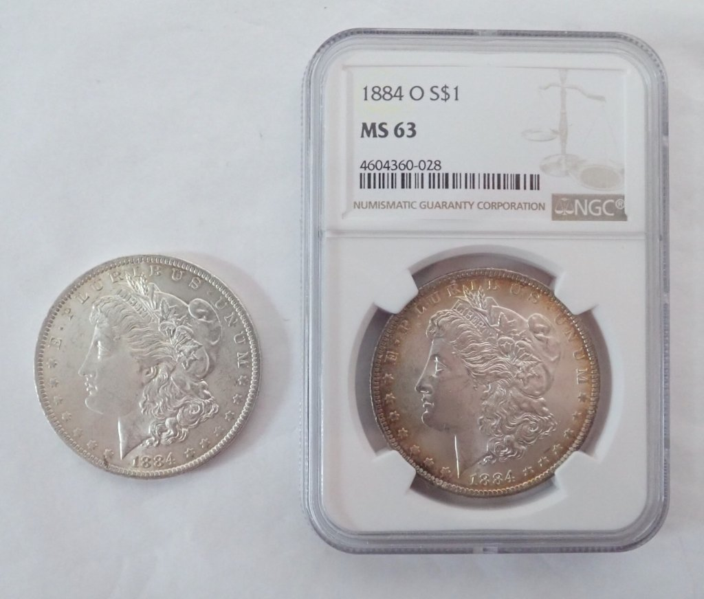 Two 1884 O $1 Morgan Silver Dollar Coins
