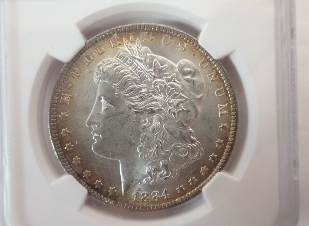 Two 1884 O $1 Morgan Silver Dollar Coins - 3