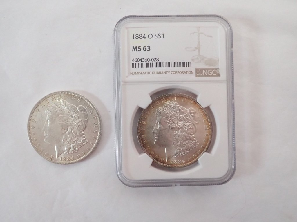 Two 1884 O $1 Morgan Silver Dollar Coins - 8