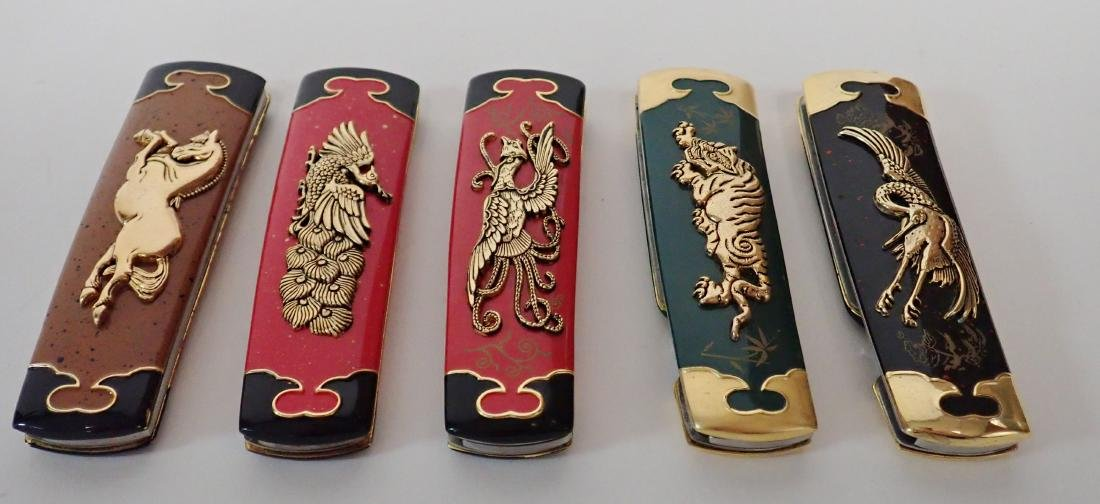 Set of 5 Franklin Mint Japanese Collector Knives - 2
