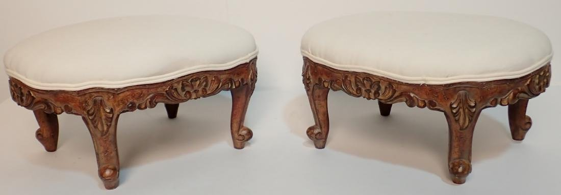 Pair of Upholstered Muslin Foot Stools
