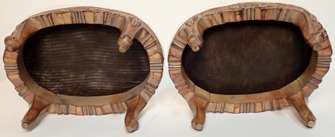 Pair of Upholstered Muslin Foot Stools - 2