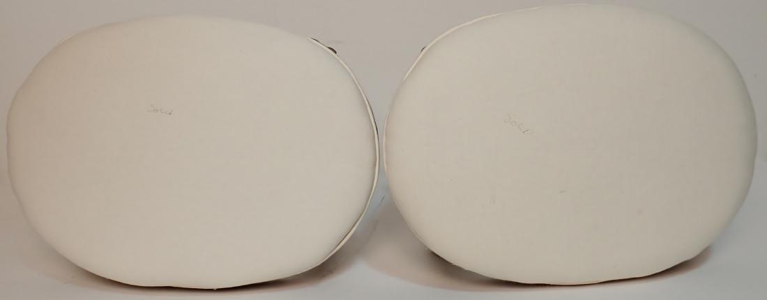 Pair of Upholstered Muslin Foot Stools - 3