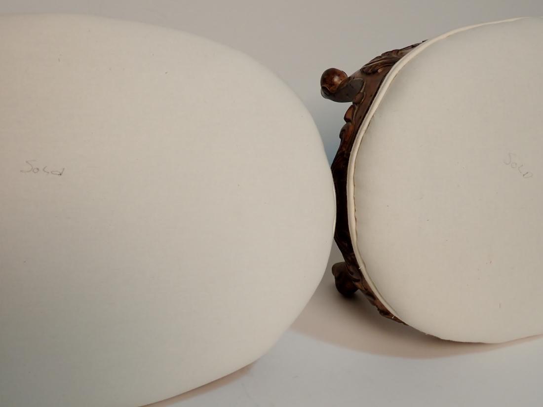 Pair of Upholstered Muslin Foot Stools - 4